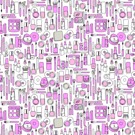 makeup // purple beauty makeup girly print  fabric by andrea_lauren on Spoonflower - custom fabric