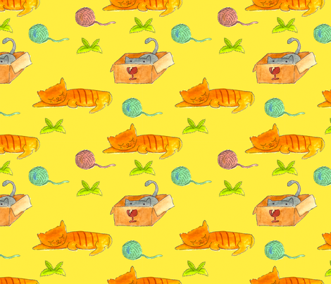 Cats World fabric by paperondesign on Spoonflower - custom fabric