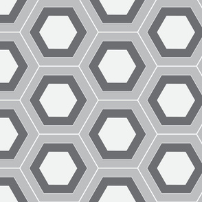 Layered Hexagons Gray White