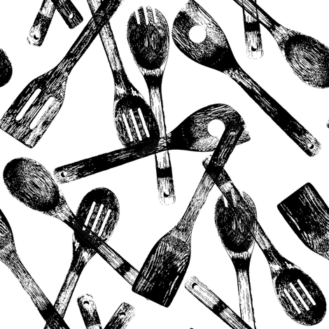 Cooking Spoons // Large fabric by thinlinetextiles on Spoonflower - custom fabric