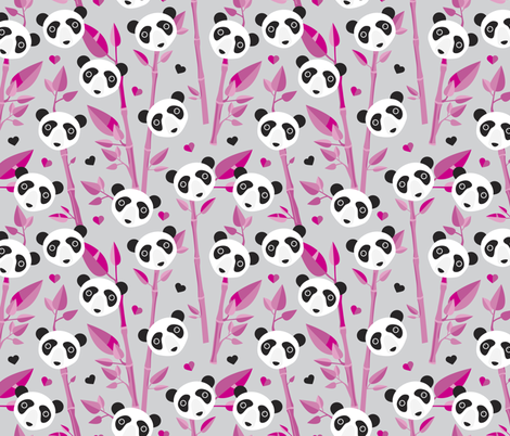 Cute bamboo forest panda love retro style modern kids illustration pattern in gray and pink fabric by littlesmilemakers on Spoonflower - custom fabric