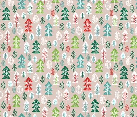 Colorful vintage green and red gender neutral christmas holiday season december christmas tree woodland illustration print fabric by littlesmilemakers on Spoonflower - custom fabric