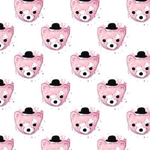 Watercolor hipster grizzly bears cute illustration for kids soft pink for girls