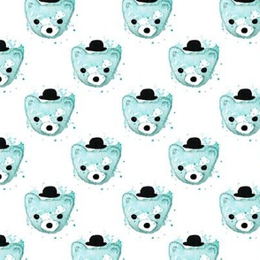 Watercolor hipster grizzly bears cute illustration for kids soft blue pastel