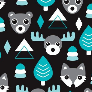 Geometric fox grizzly bear moose and wolf pine tree illustration winter woodland pattern black white and blue