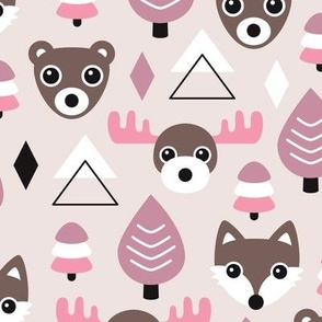Geometric fox grizzly bear moose and wolf pine tree illustration winter woodland pattern soft beige pink and violet