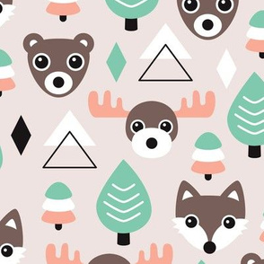 Geometric fox grizzly bear moose and wolf pine tree illustration winter woodland pattern soft beige mint and coral