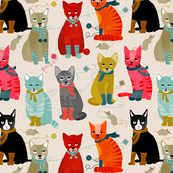 kittens in mittens // sand light knitting crafty fabrics for cat ladies
