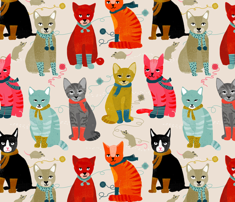 kittens in mittens // sand light knitting crafty fabrics for cat ladies fabric by andrea_lauren on Spoonflower - custom fabric