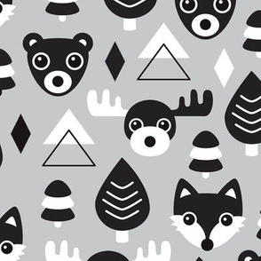 Geometric fox grizzly bear moose and wolf pine tree illustration winter woodland pattern soft gray black and white