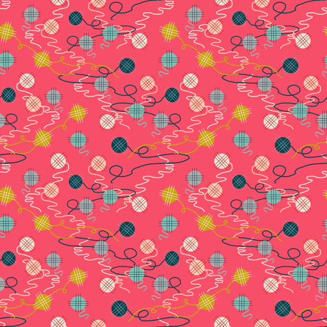 yarn // pink kittens in mittens coordinate yarn balls  fabric by andrea_lauren on Spoonflower - custom fabric