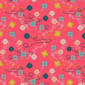 yarn // pink kittens in mittens coordinate yarn balls