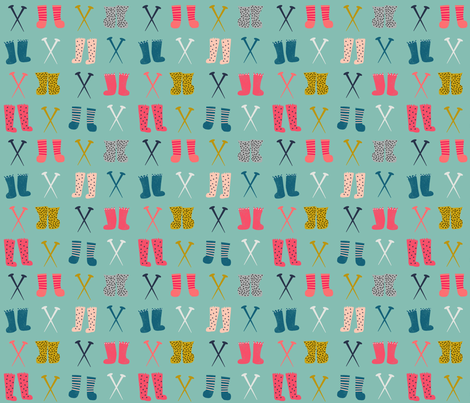 knitted socks // knitting crochet yarn kittens in mittens collection fabric by andrea_lauren on Spoonflower - custom fabric