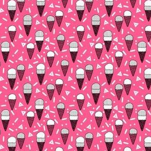 ice cream party // bright pink mini tropical summer ice cream food pattern illustraiton