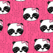 panda // girly bow panda in pink for sweet little girls fabric decor