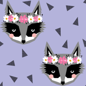 purple spring raccoon flowers girly pastels