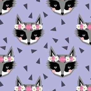 purple spring raccoon flowers girly pastels