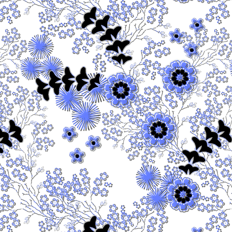 Asian floral in summer blue fabric by joanmclemore on Spoonflower - custom fabric