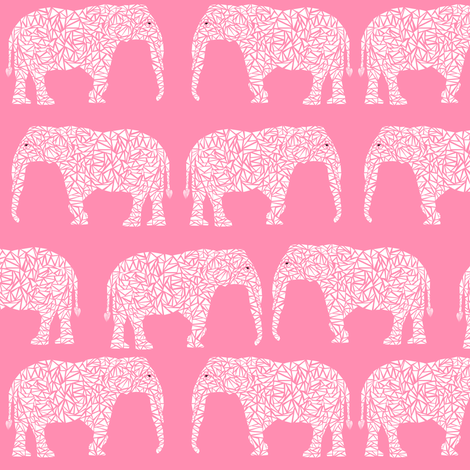 Elephant pink baby girl nursery cute animal print for baby for Nursery print fabric