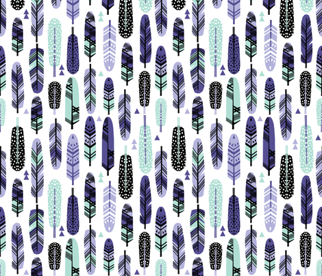 feathers purple mint nursery baby cute pastel kids design fabric by charlottewinter on Spoonflower - custom fabric