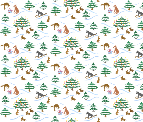 Christmas_Forest_Frolicking Fun fabric by sleepingdogquilts on Spoonflower - custom fabric
