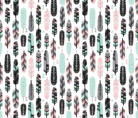 feathers pink and mint southwest boho kids cute nursery pink and mint baby design fabric by charlottewinter on Spoonflower - custom fabric
