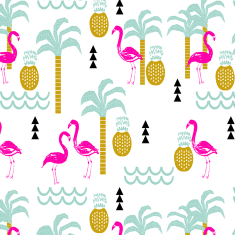 Flamingo Tropical Palm Tree Pineapple Summer Beach Trendy