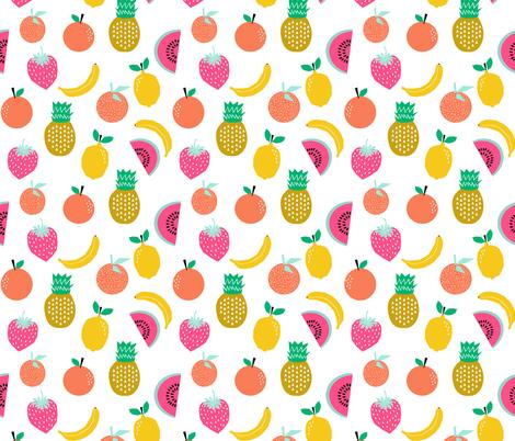 Fruit Summer Tropical Banana Pineapple Lemon Cool Kids Print White Background Fabric By Charlottewinter On