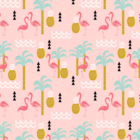 Tropical pink flamingo beach summer palm tree mint and for Childrens jungle print fabric