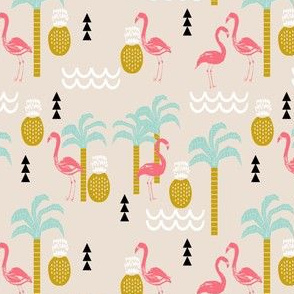 summer tropical pineapple flamingo kids summer print