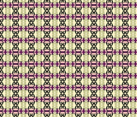 looping pink, black, and sage fabric by kumate on Spoonflower - custom fabric