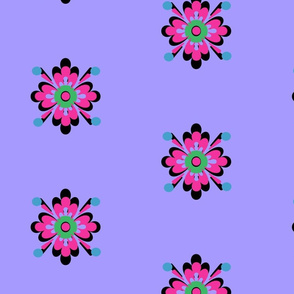 Danita's Pink Flowers on Cornflower Blue