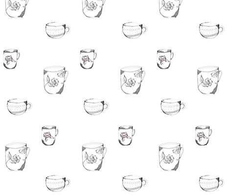 sketched_teacup_trio fabric by jennifer_rizzo on Spoonflower - custom fabric