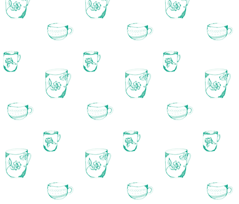 sketched_teacup_trio-green fabric by jennifer_rizzo on Spoonflower - custom fabric