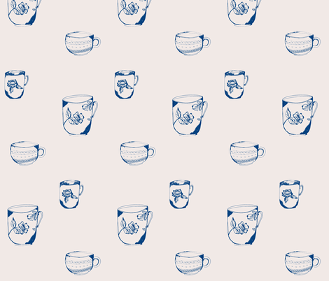 sketched_teacup_trio-navy-pink fabric by jennifer_rizzo on Spoonflower - custom fabric