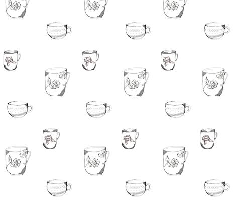 sketched_teacup_trio-ed fabric by jennifer_rizzo on Spoonflower - custom fabric