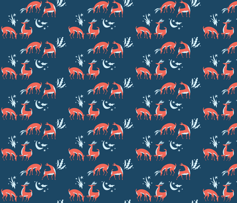 a very dear holiday fabric by pinkowlet on Spoonflower - custom fabric