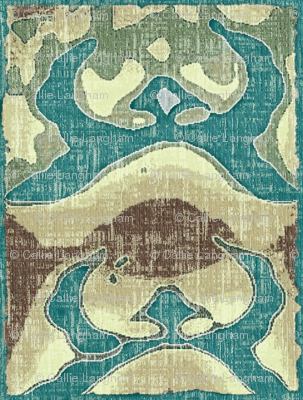Capture the Rising Sun  - turquoise, beige, brown