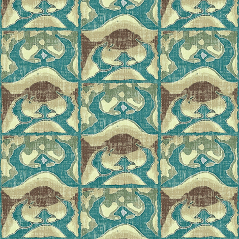 Capture the Rising Sun  - turquoise, beige, brown fabric by materialsgirl on Spoonflower - custom fabric