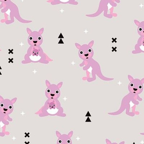 Adorable australian animals kids geometric kangaroo girls illustration pattern