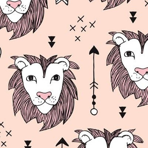 Cool scandinavian style lion and arrows safari animals kids illustration geometric pattern in beige and pink