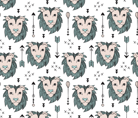 Cool scandinavian style lion tiger and arrows safari animals kids illustration geometric pattern in beige and mint fabric by littlesmilemakers on Spoonflower - custom fabric
