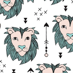 Cool scandinavian style lion tiger and arrows safari animals kids illustration geometric pattern in beige and mint