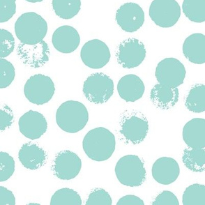 Pastel love brush circles and large dots and spots hand drawn ink illustration pattern scandinavian style in soft mint