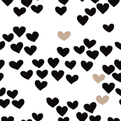 Pastel love hearts tossed hand drawn illustration pattern scandinavian style in neutral black and white ochre