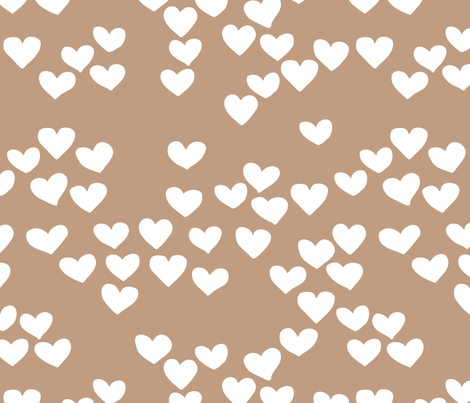 Pastel love hearts tossed hand drawn illustration pattern scandinavian style in soft ochre beige fabric by littlesmilemakers on Spoonflower - custom fabric