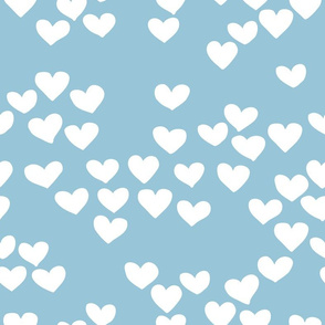 Pastel love hearts tossed hand drawn illustration pattern scandinavian style in soft winter blue