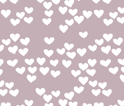Pastel love hearts tossed hand drawn illustration pattern scandinavian style in violet fabric by littlesmilemakers on Spoonflower - custom fabric