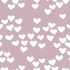 Pastel love hearts tossed hand drawn illustration pattern scandinavian style in violet