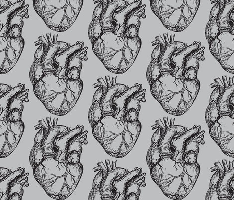 Hearts Anatomical on Soft Gray fabric by beththompsonart on Spoonflower - custom fabric